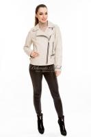 Короткая кожаная куртка на косой молнии_0