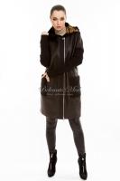Кожаная куртка с текстильными рукавами_0