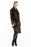 Кожаное пальто на пуговицах_1