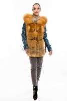 Куртка кожаная с отделкой переда и капюшоном из меха лисы_0