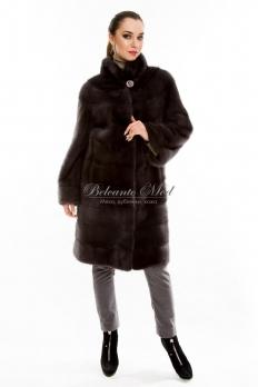 Норковое пальто с воротником-стойкой